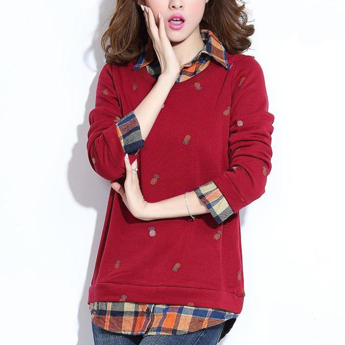 Women sweater Print Casual Cotton Pullovers Full 2015 sale sweaterreal large size new hair thickening render lapel