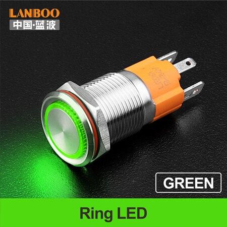 LANBOO производитель 16 мм 12V110V 24V 220V Светодиодный светильник с высоким током 10A мощный фиксатор мгновенный самоблокирующийся кнопочный переключатель - Цвет: Green LED Ring
