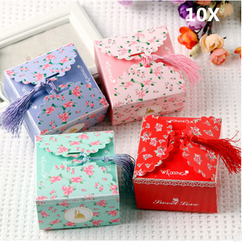 10 Pieces Wedding <font><b>Celebration</b></font> Happiness Candies Packing Box European Style Small Floral Bowknot Square Large Size Gift Boxes