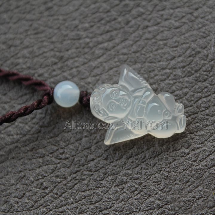 Beautiful Chinese Handwork Natural White Agate Jade Carved Cute Angel Lucky Pendant + Red Brown Rope Necklace Fine Jewelry