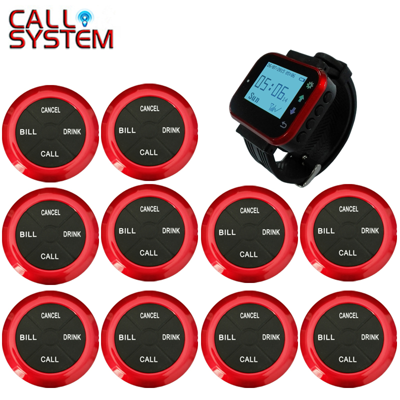 Wireless Pager Restaurant Waiter Calling System 10pcs Waterproof Call Transmitter Button+1pcs Watch Receiver tivdio restaurant pager service system wireless waiter calling paging system 3 watch receiver 15 call button transmitter f3288