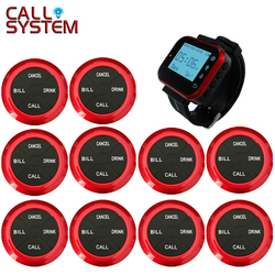 Wireless Pager Restaurant Waiter Calling System 10pcs Waterproof Call Transmitter Button+1pcs Watch Receiver