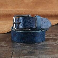 Vintage Gürtel Schnalle Echtes Leder Männer Gürtel Ceinture Homme Cinturones Hombre Top Qualität Jeans Blau Breiten Gurt WMBT0443