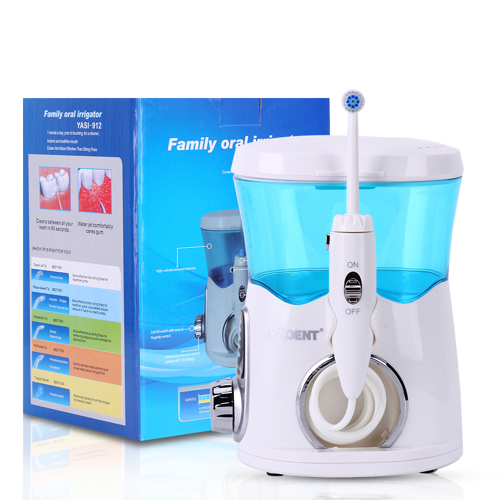 AZDENT Electric Portable Oral Irrigator 600ML Family Dental Flosser Tooth Floss Water Jet Water Dental Irrigator dental water flosser go out trave oral irrigator waterpick dental floss water irrigation jet dental tooth floss 1095