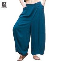 מתאר קיץ נשים מכנסיים האופנה Loose Oversize השחור תליית פנס מכנסיים רחב מכנסיים מכנסי הרמון מקרית מכנסיים L142K007 Bule
