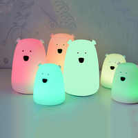 Bedroom Light Colorful Bear Silicone LED Night Light Chargeable Battery Touch Sensor light 2 Modes Children Baby Kids Night Lamp