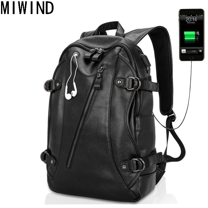 Men Backpacks PU Leather Waterproof Bags 15 Inch Laptop Backpack External USB Charge Computer Bag Mochila Feminina TBD1168
