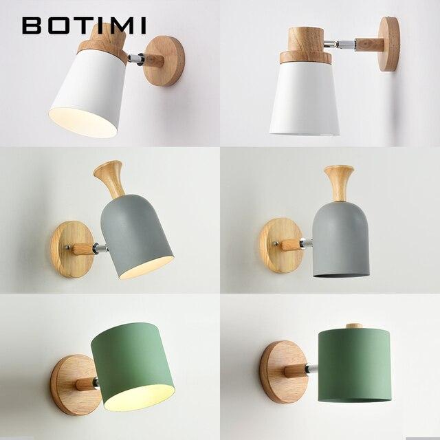Botimi Nordic Led Wall Lamp For Bedroom Reading Sconce Bedside Luminaira Modern Wooden E27