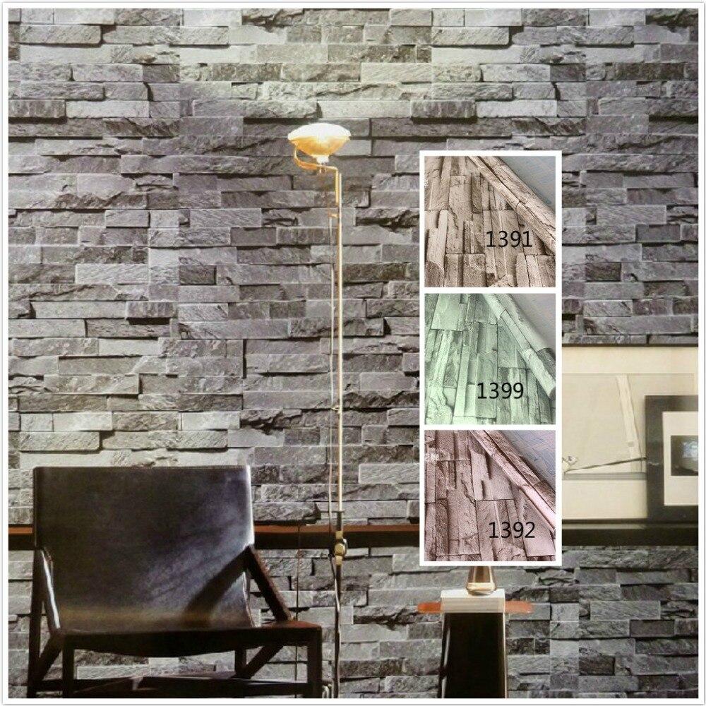 Pvc vinyl modern faux brick stone 3d wallpaper living room for Stone wallpaper for living room