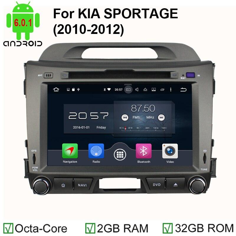 Octa Core 1024*600 Android 6.0 dvd-плеер автомобиля Fit Kia Sportage R 2011 2012 2013 2014 2015 головы блок GPS навигации стерео