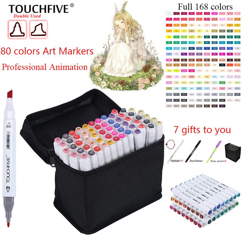 Touchfive 80 Colors Pen Marker Set marcadores touchfive Sketch Markers Brush Pen For Draw Manga Animation Design Art Supplies touchfive 36 48 60 72 colors art marker set oily alcoholic sketch markers double headed for animation manga draw