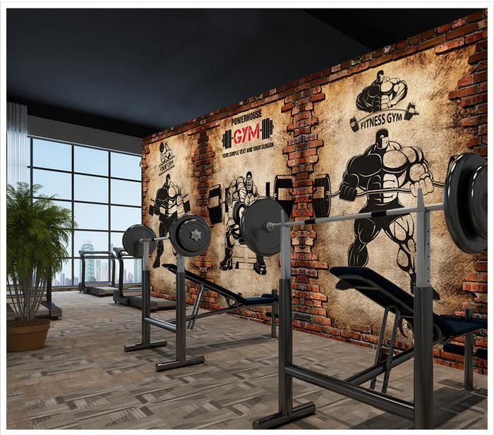 3d wallpaper custom 3d murals wallpaper 3d Gym nostalgic brick wall retro sports fitness club weightlifting backdrop wall decor