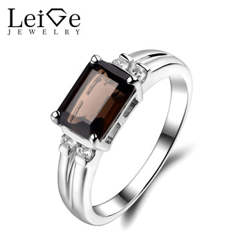 Leige Jewelry Smoky Quartz Ring Cut Engagement Wedding Promise Rings For Woman Sterling Sliver 925 Fine Jewelry Brown Gemstone
