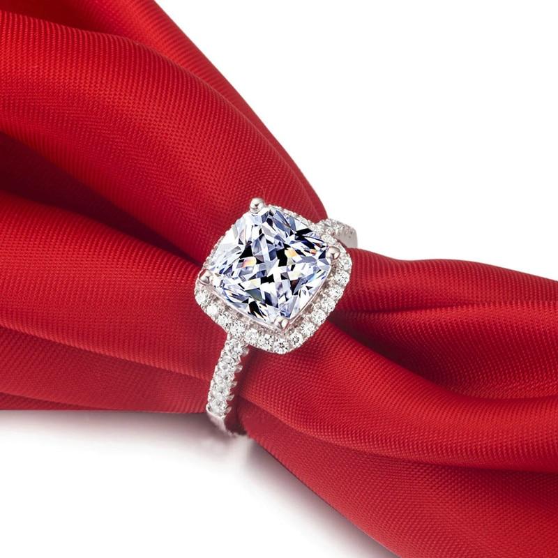 AINUOSHI Luxury 3 Carat Engagement Halo Rings Princess Stlye Cushion - მოდის სამკაულები - ფოტო 4