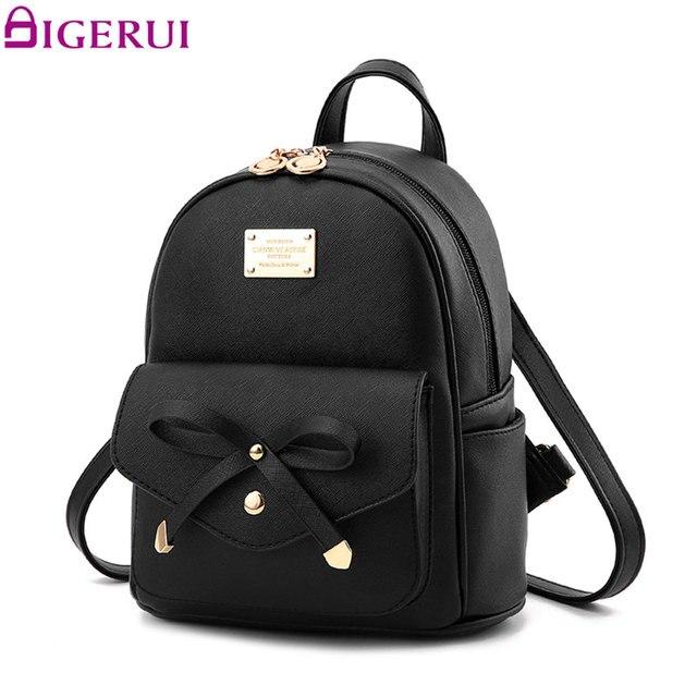 5549149cd0 Aolen Bookbags 2017 Mini Backpack School For Sale Teenage Girls Cute Lady  Bag Backpacks Backbag Female Black Leather Printing-in Backpacks from  Luggage …