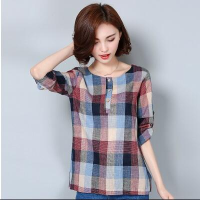 e6c12a180aa84 2018 Women s Blouses Shirts Casual Clothes Long Sleeve Cotton and Linen Women  Tops Plaid Blouse Plus Size Elegant Shirt AD12-in Blouses   Shirts from ...
