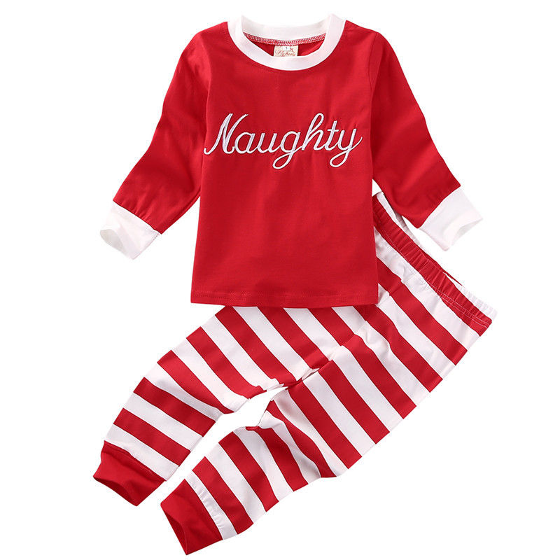 XMAS Newborn Toddler Baby Girl Clothing Set Letter Print T-shirt Top+Striped Pants Cotton Cute 2pcs Baby Clothes Halloween Gift