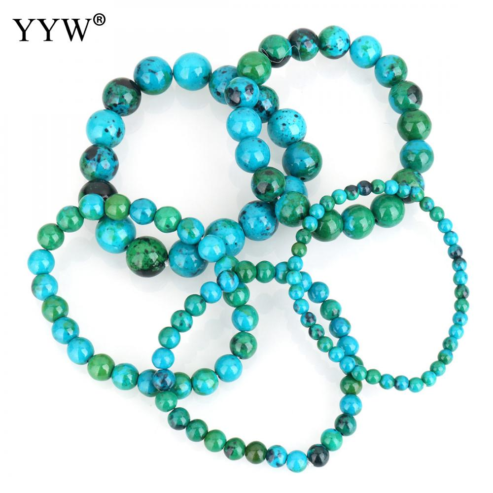 YYW 2018 New Hot 4/6/8/10/12mm Round Spacer Beaded Stone Strand <font><b>Bracelet</b></font> Chrysocolla <font><b>Bracelet</b></font> <font><b>Unisex</b></font> Women Man Couple Gifts image