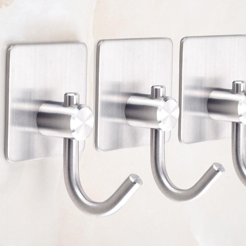 Self-Adhesive Stainless Steel Towel Hooks Family Clothes Hats Bags Keys Wall Hanging Hooks Kitchen Bathroom Waterproof Hangers