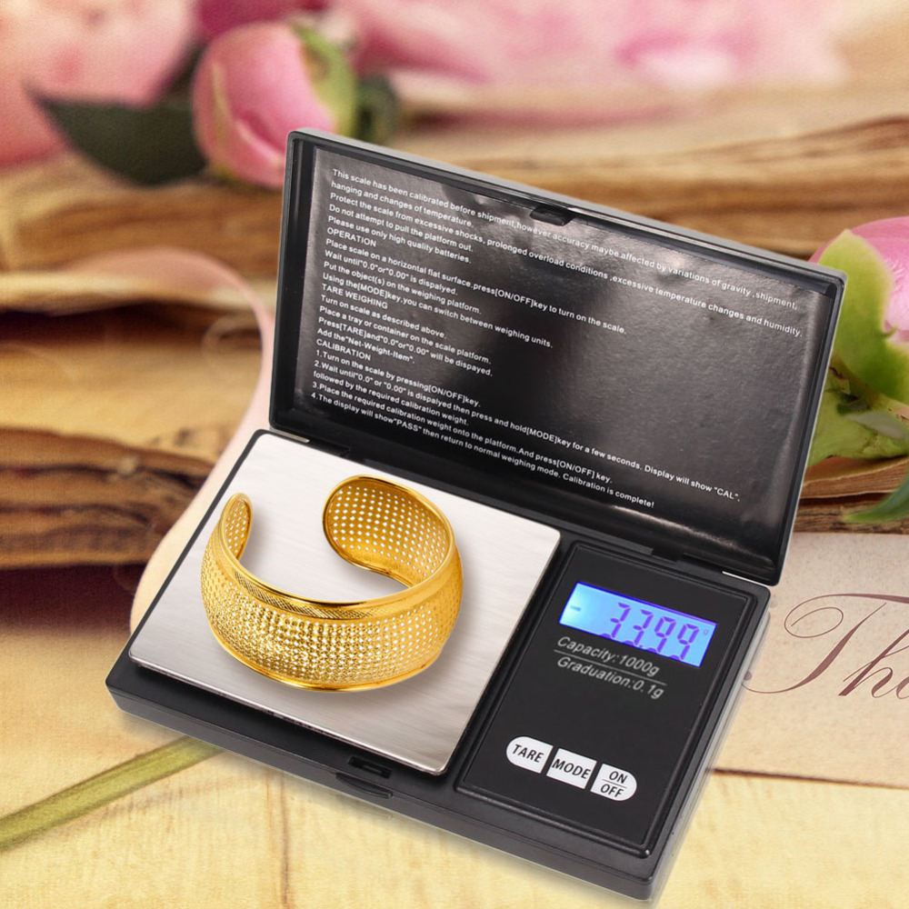 1000gx0.1g Portable Stainless steel Mini Digital Pocket Scale Electronic Jewelry Gold Silver Grams Scale Balance weighing Scales