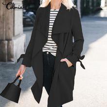 Celmia Women Solid Long Sleeve Cardigan Coats Spring Autumn