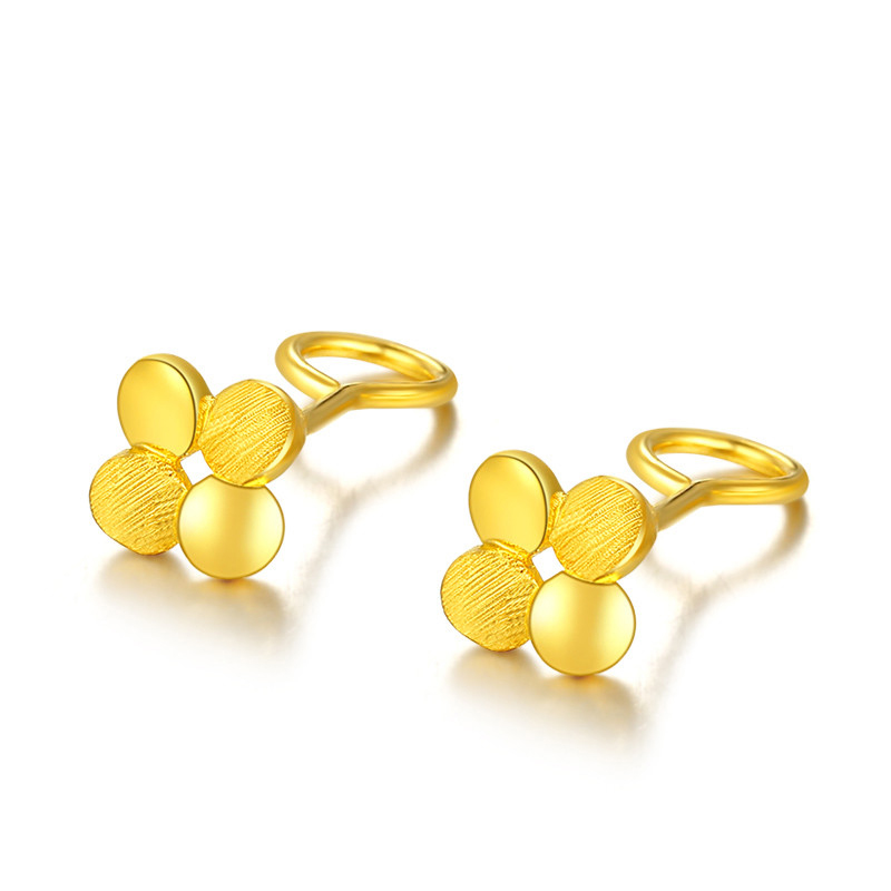 Pure Solid 999 Yellow Gold Carved Flower Stud Earrings 2.68g