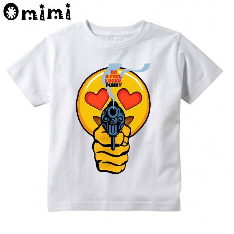 Сделать у себя emoji панк Дизайн футболки для мальчиков/девочек летние милые топы белого цвета футболки детская одежда
