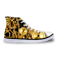 Noisydesigns High top canvas Men sneakers vintage vulcanized lace up flat shoes Male gold gears 3D print boys steampunk