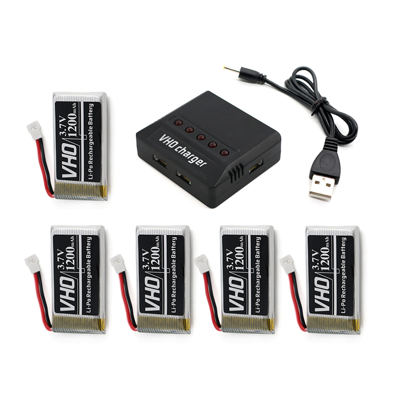 VHO 5PCS 3.7V 25C 1200mAh Lipo Battery and charger box for Syma X5SW X5SC X5S X5SC-1 M18 H5P RC Quadcopter 3pcs battery and european regulation charger with 1 cable 3 line for mjx b3 helicopter 7 4v 1800mah 25c aircraft parts
