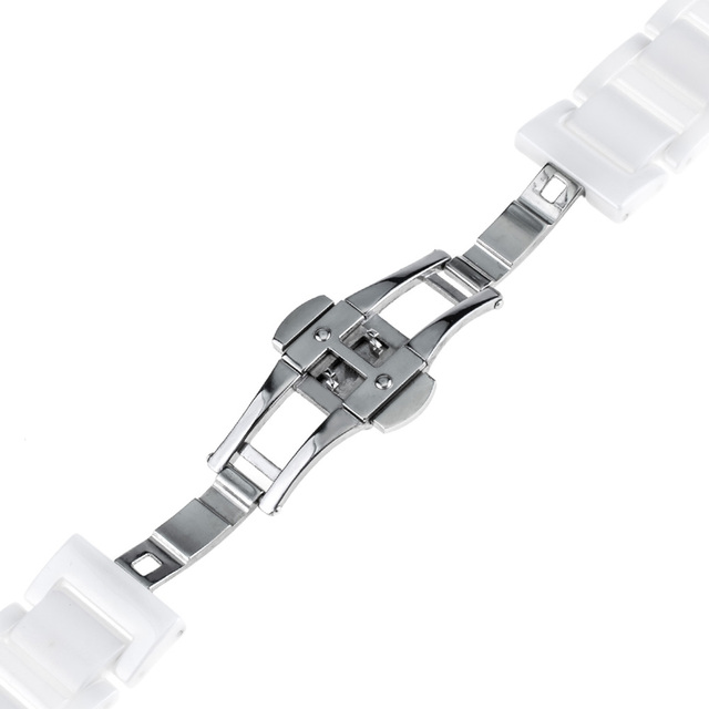 16mm 18mm 20mm Full Ceramic Watch Band for Armani Diesel Fossil Timex DW CK Men Women Butterfly Buckle Strap Wrist Belt Bracelet