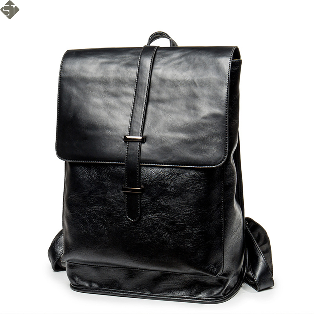 Brand Men Backpack Leather Male Functional bags Men Waterproof backpack PU big capacity Men Bag School Bags For Teenager fashionable pu leather backpack for men