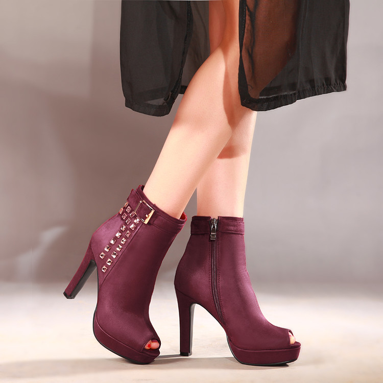 2017 Sale New Medium(b,m) Spring/autumn Boots Botas Mujer For Women Sexy Ankle Heels Spring Autumn Shoes Casual Zip Snow 86-3