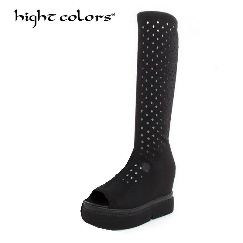 HIGHT COLORS Hot Sale New 2018 Fashion Summer Hollow BLACK Women Long Boots Platform Fashion Cut Outs Ladies Dress Shoes ljm3616