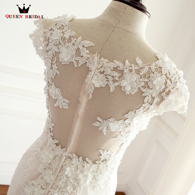 Sexy Mermaid Lace Flowers Appliques Wedding Dresses 100% Real Photo Long Elegant Wedding Gowns QUEEN BRIDAL Custom Made DT05