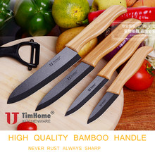 Ceramic chef paring Knives set with sheaths kitchen cutting tools for meat high quality bamboo handle(China)