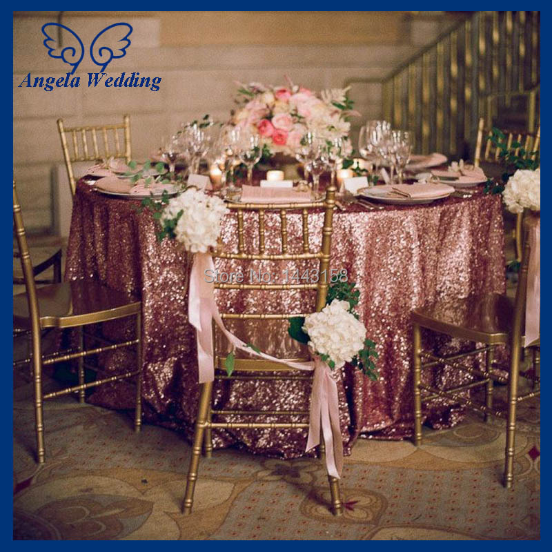 Cl009d New Fancy Polyester Embroidery Beaded Glitter Metallic Sequence Wedding Rose Gold Sequin Table Cloth In Tablecloths From Home Garden On