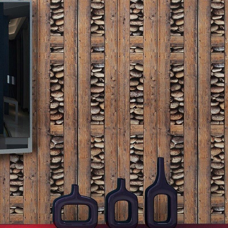 Beibehang rock rétro papier peint pour murs 3 d antique bois bar café papel de parede 3d papier peint décoration maison autocollants