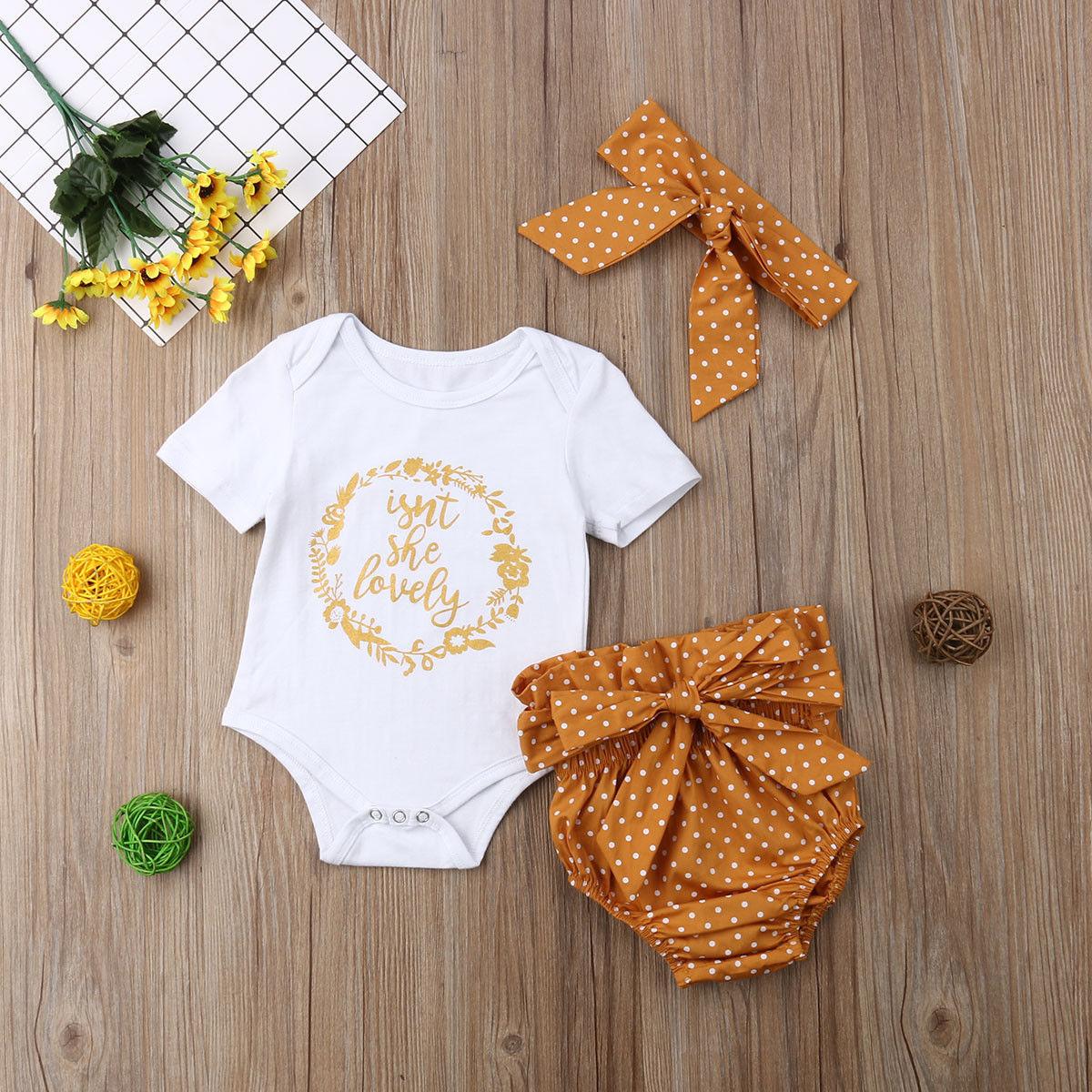 3Pcs Newborn Baby Girls Outfit Clothes Tops  Jumpsuit Bodysuit+Pants Set