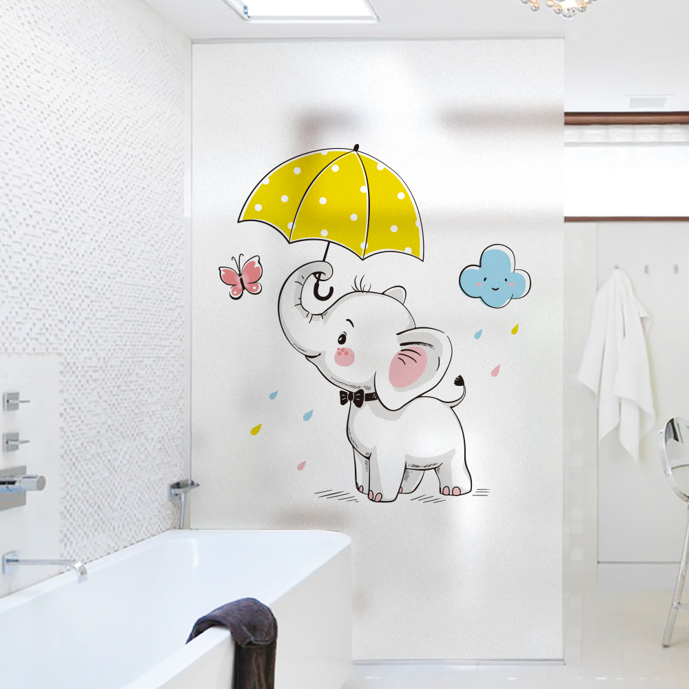 Cartoon elephant Stained Window Film Frosted Privacy Custom Glass Film Home Decoration Stickers wall stickers for kids rooms