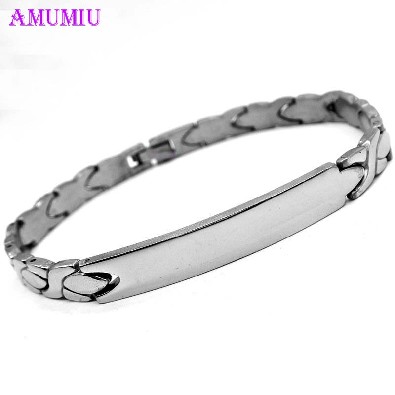 AMUMIU Message Stainless Steel Men's ID Tag Link Bracelet in Silver Female Jewelry B039