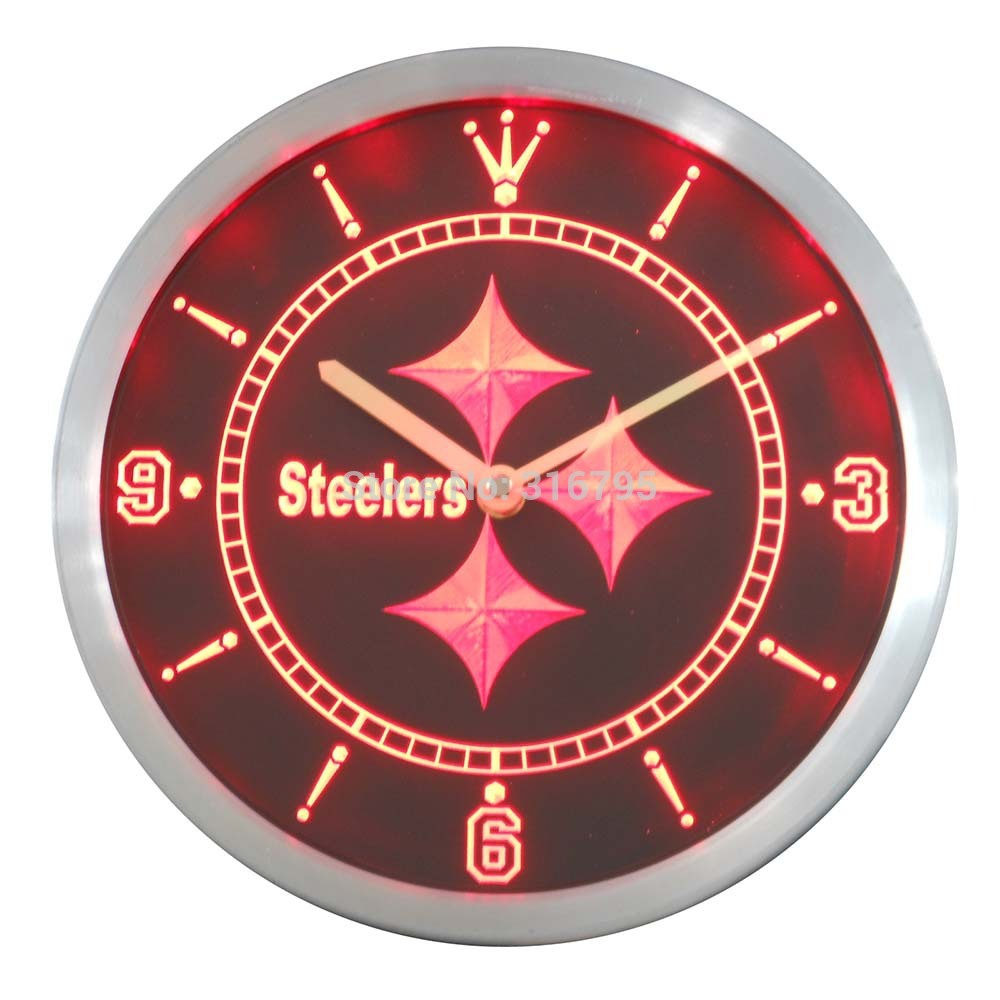 Nc0514 Steelers de Pittsburgh Enseigne Au Néon Horloge Murale LED