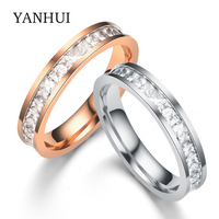 YANHUI Victoria Wieck Women Rings Eternity Princess Cut Topaz Simulated CZ Diamond 10KT Gold Plated Engagement