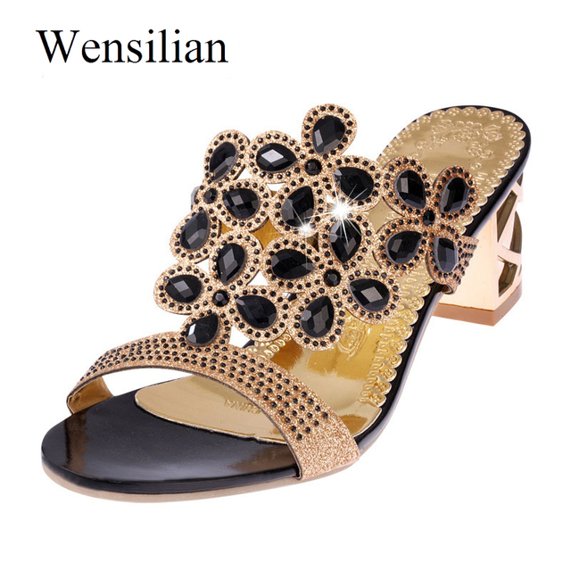 outlet store 7759f 5ef61 US $21.06 |Designer Middle Heels Sandals Women Fenty Beauty Sandalen Dames  Slip On Ladies Flats Zapatos Mujer Black Sandalia Feminina-in Middle Heels  ...