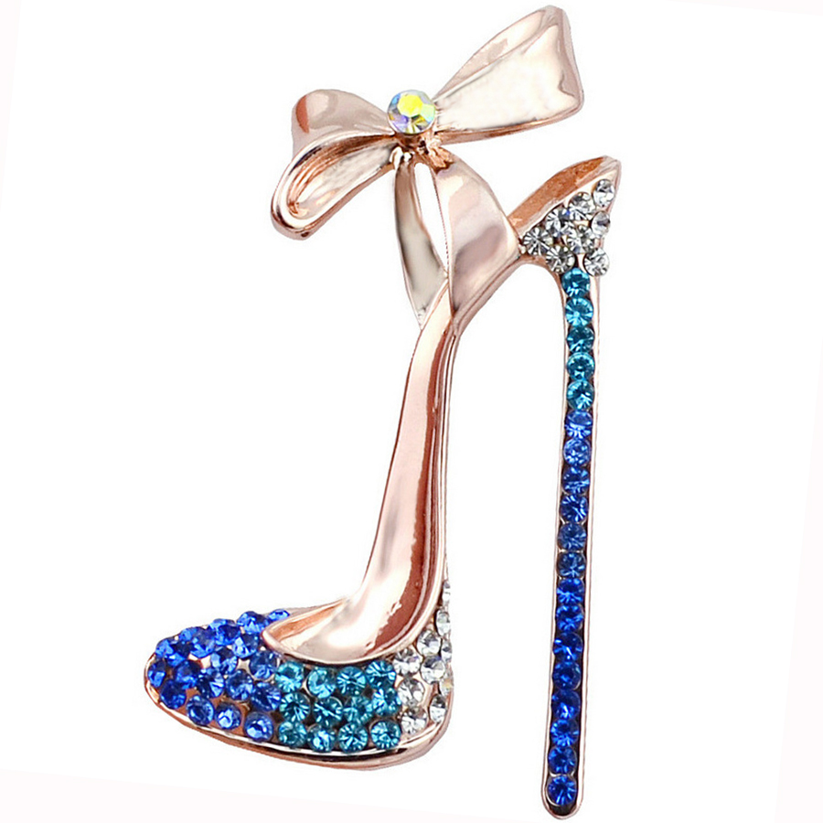 Rhinestone Bow High heels Brooches Pins Charm Clothing Accessories for Women Party Wedding Creative Fashion Jewelry Broche XZ055