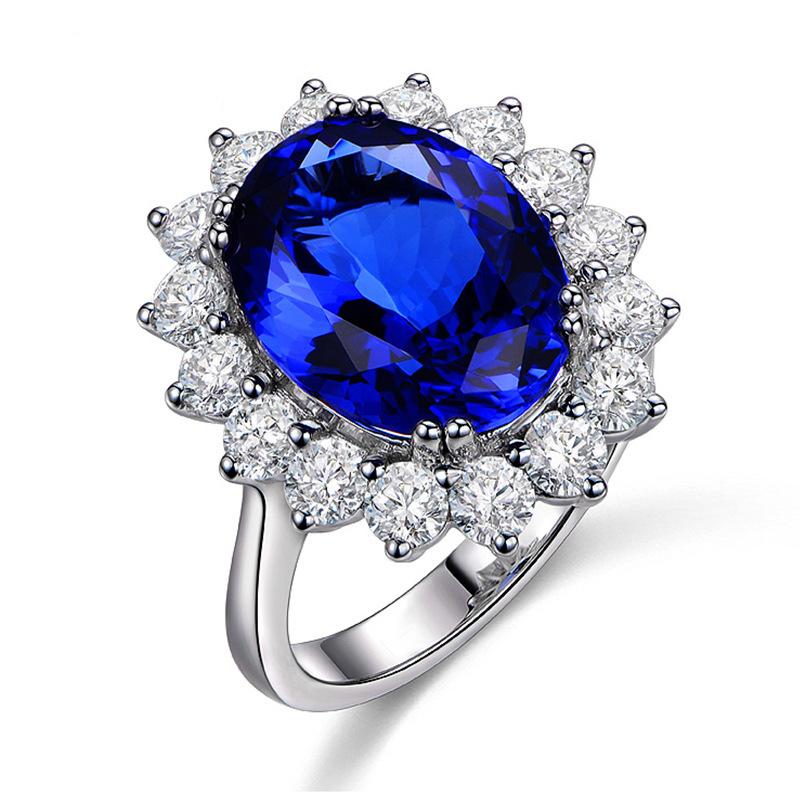 Silver Cubic Zirconia Blue Crystal Women's Wedding Engagment Rings