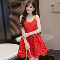 Summer Brand New Women Sexy Hollow-Out Tank Dress Spaghetti Strap Low-Cut V-Neck Backless Floral Hem Party Mini Dresses L1038S