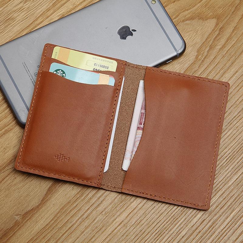 LANSPACE äkta läder mäns korthållare varumärke handgjorda kort id hållare