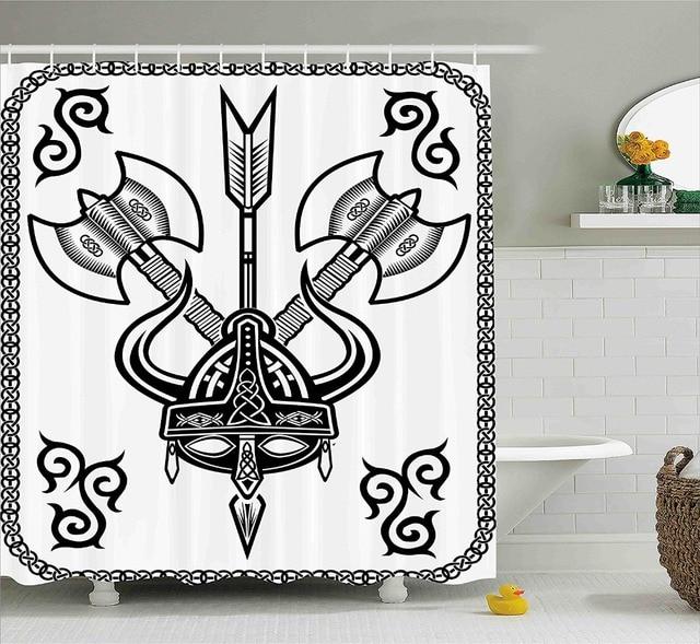 Viking Shower Curtain Helmet With Horn Arrow Axe Antique War Celtic Style Medieval Battle Culture Art