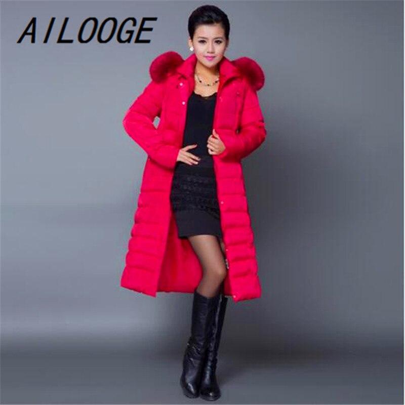 AILOOGE Maxi abrigo de Invierno 2017 nueva chaqueta de invierno Casual de talla grande abrigo de mujer grueso X largo de algodón Parkas Casaco Feminino - 4