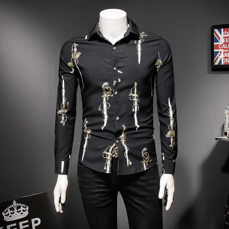 Рубашка с узором 2018 Новая мужская рубашка с длинным рукавом Повседневная приталенная винтажная рубашка размера плюс 5xl модная мужская руба...